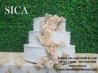 Bánh kem kết hoa tiệc cưới giá rẻ