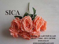 Mẫu bông hồng gỗ 7 bông giá rẻ